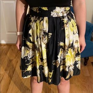 Loft gathered flare skirt with floral design